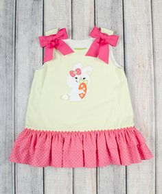Loving this Pink & Yellow Bunny Ruffle Dress - Infant, Toddler & Girls on #zulily! #zulilyfinds