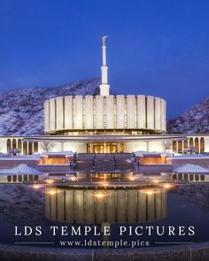 Provo Utah Temple Winter Twilight - LDS Temple Pictures