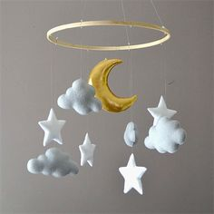 Felt mobile with clouds, moon
