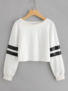 Varsity Striped Crop Sweatshirt $14 - Shein