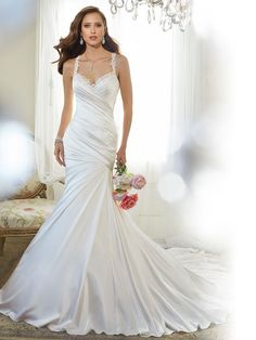 Style Y11566, Corella, is a beautiful fit and flare wedding dress with shoulder straps designed by Sophia Tolli, click here for more details.