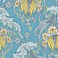 Amy Butler Temple Tulips Ocean Wallpaper @Layla Grayce