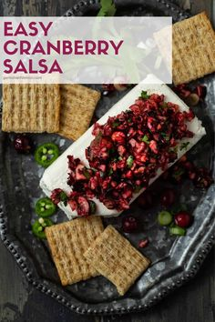Make Ahead Appetizers, Hot Appetizers, Quick And Easy Appetizers, Easy Appetizer Recipes, Cranberry Salsa, Cranberry Recipes, Holiday Recipes, Lemon Recipes, Fruit Recipes