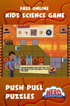 Try our new Hero Elementary Game - Push Pull Puzzles - and learn about the science behind what makes objects move! Help Lucita Sky and Sara Snap train in the school gymnasium by pushing and pulling objects. Or use pushes and pulls to make a path to Fur Blur's snack! Don't worry... Mr. Sparks will help you when you get stuck. Science Games For Kids, Art Activities For Kids, Art For Kids, Kindergarten Classroom, Future Classroom, Don't Worry, 21st Century, Lesson Plans, School Stuff