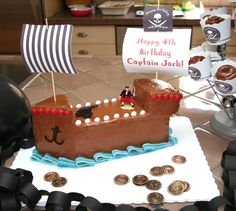 A Pirate Ship Cake to Inspire a Tiny Crew This homemade confection, made by creatively cutting up a larger sheet cake, is just what every pirate captain needs at his birthday party. Pirate Birthday Cake, Unique Birthday Cakes, Happy 4th Birthday, Baby Birthday Cakes, Boy Birthday, Cake Baby, Birthday Ideas, Pirate Ship Cakes, Pirate Ships