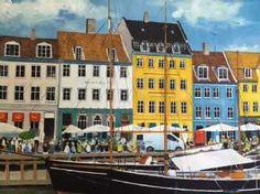 Kunstsamlingen | Artist: Jan Schuler | Title: Sommersteming i Nyhavn | Height: 46cm,  Width: 65cm | Find it at kunstsamlingen.com  #kunstsamlingen #kunst #artcollection #art #painting #maleri #galleri #gallery #onlinegallery #onlinegalleri #kunstner #artist #danishartists #janschuler #galleriexpo