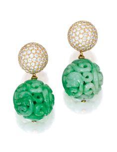 Pair of 18 Karat Gold, Diamond and Jade Pendant-Earclips | lot | Sotheby's