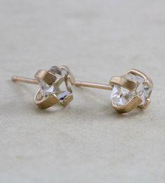 Herkimer Diamond Stud Earrings | Made for the modern romantic, these Herkimer diamond earrings ... | Earrings