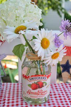 Summer decor! Great way to reuse old jam jars.