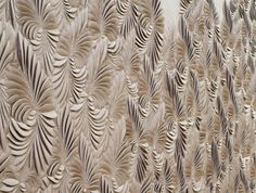 Bespoke tropical wallpanel in leather by Helen Amy Murray, UK designer