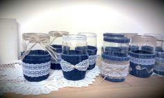 Denim decor party mason  jar