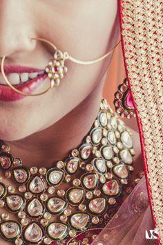 Indian Wedding Jewelry - Polki Necklace   WedMeGood  Polki Kundan Necklace with Meenakari work and Gold Nosering #wedmegood #bridal #jewelry #bosering #polki
