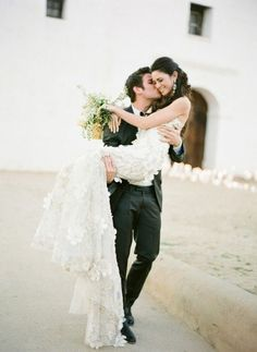 I love this picture, I wonder if he would be able to carry me in my dress, it weighs so much!