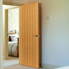 hotel door Oak internal doors, River Oak Cottage Cherwell Flush Door - Prefinished, recessed grooved panel effect, very popular. White Internal Doors, Internal Door Handles, Bathroom Door Handles, Bathroom Doors, Custom Wood Doors, Wooden Doors, Hotel Door, Door Fittings, Black Interior Doors