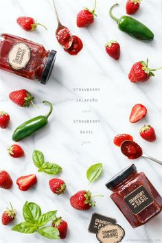 Strawberry Jam Two Ways (with Basil and Jalapeño!) Because too many strawberries is never a problem. #ingredientmonth