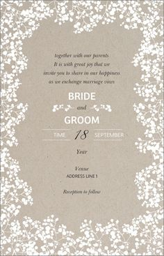 Affordable wedding invitations from vistaprint pinterest personalize your own vintage brown babys breath ultra thick horizontal flat wedding invitations vistaprint is your source to high quality stopboris Images