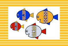 Four Fun Fish! Clipart.  All 4 fish and frame in .png format.  Set includes a FREE digital frame from my Stripes set.