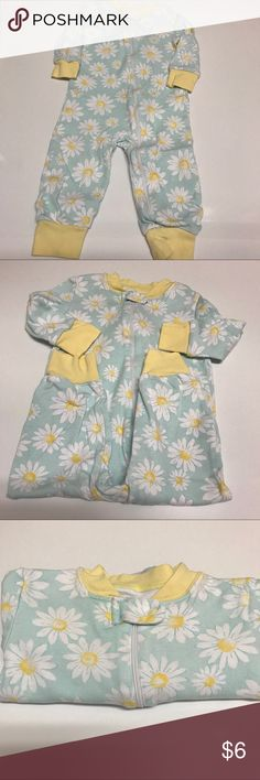 Little Me zippered footless sleeper Little Me zippered footless sleeper in a light colored tealish color with yellow and white daisy flowers on it. Little Me Pajamas