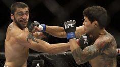 Autsch! Ramsey Nijem entgleisen nach diesem Treffer von Diego Ferreira die Gesichtszüge. Die Kämpfe beim UFC 177 in Sacramento sind nichts für schwache Nerven...