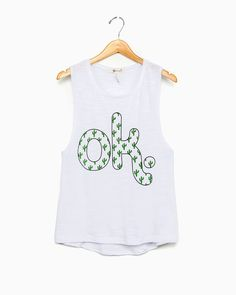 OK Cactus Succulent White Muscle Tank