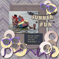Basic Scrapbooking -  module 5  I had some trouble with this as I could only get a straight line when using stitch with the picture tube. I didn't have any letters so I made them and I manipulated the sunglasses and the two rods holding the letters I also colored the ribbon and wove it around the circles.