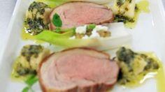 Roast loin of lamb, endive filled with aubergine caviar and feta, potato gnocchi and warm herb vinaigrette - RTE Food