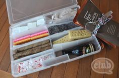 The Ultimate Hot Cocoa Holiday Kit! I picked up a couple craft organizers, lined each compartment with parchment paper, and filled each one with a delightful cocoa accessory