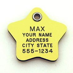Pet ID Tag - Star - Custom engraved dog & cat ID tags. Pet safety tag has reflective coating and is available in plastic, stainless steel and brass. - http://www.thepuppy.org/pet-id-tag-star-custom-engraved-dog-cat-id-tags-pet-safety-tag-has-reflective-coating-and-is-available-in-plastic-stainless-steel-and-brass/