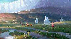 """""""Concept art from Ice Age: Dawn of the Dinosaurs by Xiangyuan Jie Blue Sky Studios)"""" Environment Painting, Environment Concept, Environment Design, Landscape Concept, Fantasy Landscape, Landscape Art, Animation Background, Art Background, Fantasy Concept Art"""