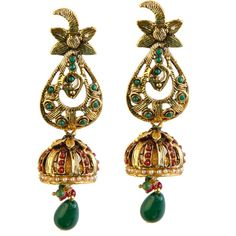 Best for Ethnic Occasions, Kriaa Maroon And Green Pota Stone Pearl Drop Antique Gold Plated Jhumki Earrings Buy Now at http://www.kriaa.in/product/1301816/Kriaa-Maroon-And-Green-Pota-Stone-Pearl-Drop-Antique-Gold-Plated-Jhumki-Earrings/?pd=FEMJ