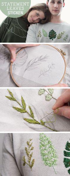 DIY- Anleitung: Blätter sticken, Stickvorlagen für Blätter / diy tutorial…
