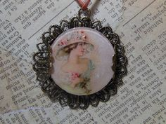 Lady in Pink Vintage Watch Crystal Pendant Necklace