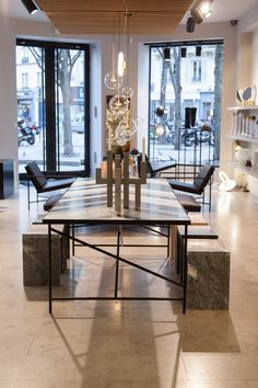 Marble Herringbone Table at Gallery BenSimon in Paris. Black Marble, Herringbone, Dining Table, Paris, Gallery, Projects, Furniture, Design, Home Decor