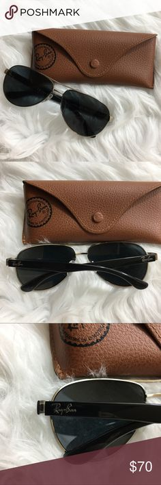 Ray-Ban Aviators Cute aviator sunglasses from Ray-Ban. Gently worn with minor wear. The lenses have been replaced with a higher end polarized version for added eye protection. They will ship in a standard case. Ray-Ban Accessories Sunglasses
