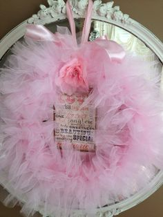 SALE SALE Pink Tulle Valentine Wreath  by sewbeautiful2 on Etsy, $40.00