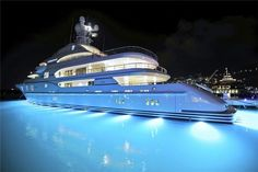 You must have amazing underwater lights to showcase your yacht - beautiful Jet Ski, Yacht Boat, Yacht Club, Lurssen Yachts, Sports Nautiques, Underwater Lights, Yacht Interior, Interior Design, Private Jet