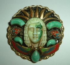 max neiger | ... & Chinese / Eygptian Style Scarab & Mummy Mask Brooch by Max Neiger