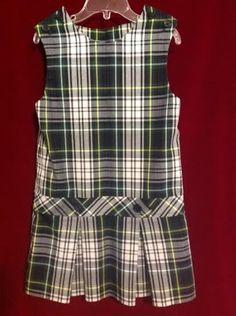 Parker School Uniform, Girls Jumper, Size 4, White Green Plaid, Excellent Cond. #Parker #JumperDress