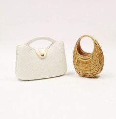 Pair of Vintage Italian Wicker Handbags including Rodo  So cute!! #MRSCouture