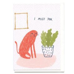 i miss you card blank inside on tammie bennett art + design etsy Happy Holidays Greetings, Funny Greetings, Greeting Card Box, Holiday Greeting Cards, Illustration Art Drawing, Illustrations, I Miss You Card, Blank Cards, Cat Art
