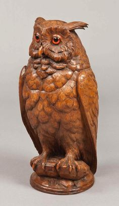 A Carved Black Forest Antique Owl of Exceptional Size at 1stdibs