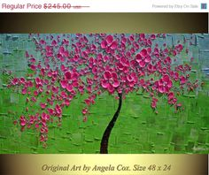 SALE Original   Contemporary  Impasto Palette Knife  Pink Blossom  Tree Fine Art landscape Modern Painting. Made2Order.