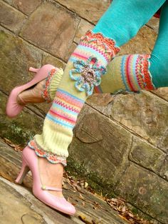 crocheted, knitted, and upcycled Crochet Leg Warmers, Crochet Socks, Knit Or Crochet, Girls Leg Warmers, Arm Warmers, Steampunk Boots, Hunter Boots Outfit, Boot Socks, Boot Cuffs