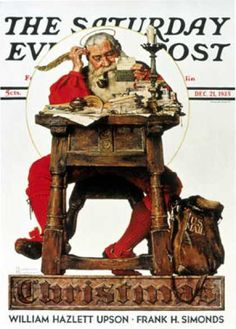 1935-12-21: Santa at His Desk (Norman Rockwell) Saturday Evening Post