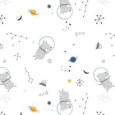 Tissu coton katia fabrics - collection cosmos - Un grand marché Cosmos, Space Illustration, Graphic Design Illustration, Quilting, Kids Patterns, Space Theme, Kids Wallpaper, Background Pictures, Kids Prints