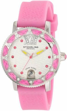 Stuhrling Original Women's 225R.1116A2 Nautical Regatta Marina Sport Swiss Quartz Swarovski Pink Rubber Strap Watch Stuhrling Original. $79.00. Scallop edged bezel set with twelve swarovski crystals. Pink textured silicon rubber strap. Stainless steel round shaped case with protective krysterna crystal. Silver dial with pink swarovski crystals set as hour markers and date complication. Water-resistant to 330 feet (100 M). Save 81%!