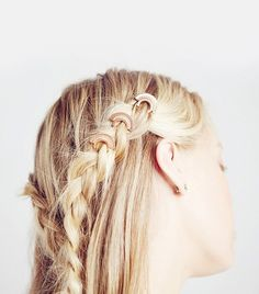 Summer blond hair with braided half ponytail