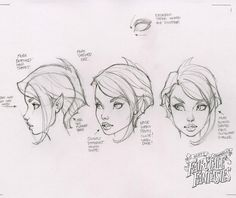 """One more of the drawings used to create """"Tinkerbell"""", the second statue in the J. Scott Campbell's Fairytale Fantasies line from This one focusing on the head, face and hair. Comic Book Drawing, Comic Books Art, Wie Zeichnet Man Manga, Comic Face, Danger Girl, J Scott Campbell, Drawing Sketches, Drawings, Drawing Faces"""