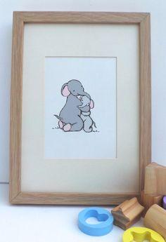 Nursery Art - Hugging elephants - baby decor - childrens art print - mummy and baby elephant illustration - A5 kids wall art - baby gift