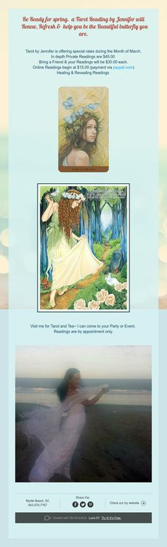 Be Ready for spring. a Tarot Reading by Jennifer will Renew,Refresh& help yoube the Beautiful butterfly you are.